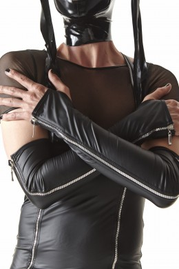 CRD012  Long gloves with decorative zippers  sizes: S/M ; L/XL